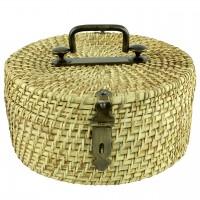 Cutie decorativa rotunda din ratan maro cu maner din metal 31 cm