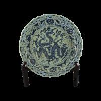 Platou decorativ rotund din portelan pictat