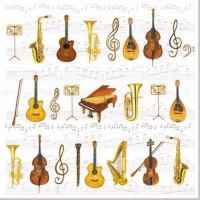 Servetele decorative din hartie cu orchestra
