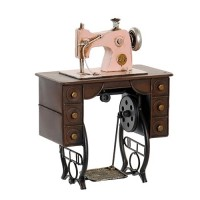 Deco Sewing Machine din metal roz 21x12 cm
