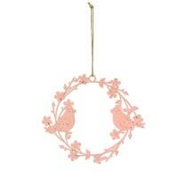 Ghirlanda Pink Bird din metal roz 20 cm