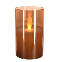Lumanare Amber din sticla cu LED 13 cm