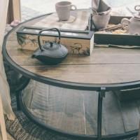 Masuta Francis din metal si lemn 104x45 cm