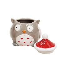 Recipient Owl din ceramica gri 9x11 cm