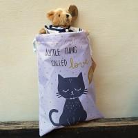 Rucsac Cat din textil roz 26x35 cm