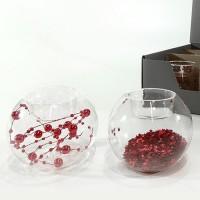 Suport pentru lumanare din sticla cu decor rosu 8 cm - 2 modele la alegere