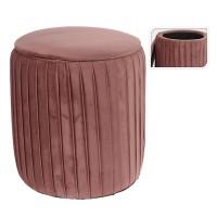 Taburet Pink Velvet cu structura din lemn 34x41 cm
