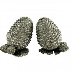 Set cu solnita si pipernita con de brad din cositor 7.6 cm