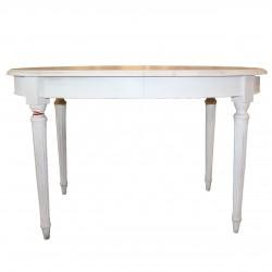 Masa ovala antichizata din lemn alb 130 cm