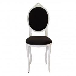 Scaun pentru copii din lemn alb cu tapiterie maro inchis 97 cm