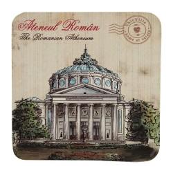 Suport pahar cu Ateneul Roman din carton presat