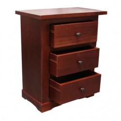 Noptiera Mondenne cu 3 sertare din lemn maro 60x35x70 cm
