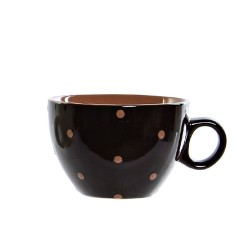 Cana Dots din ceramica neagra 8 cm