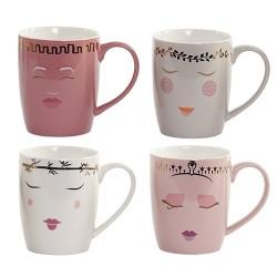 Cana Lovely Faces din ceramica 10 cm - 4 modele