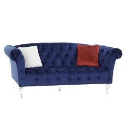 Canapea Blue cu picioare transparente si tapiterie catifelata 216x74 cm