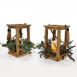 Candela Noel din lemn cu led 29 cm - 2 modele la alegere