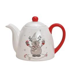 Ceainic Reindeer din ceramica alba 14 cm