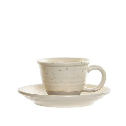 Ceasca Daily cu farfurioara, din ceramica crem 5 cm