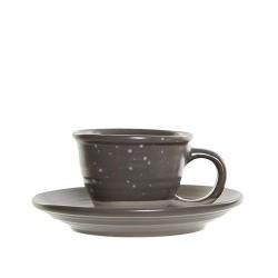 Ceasca Daily cu farfurioara, din ceramica gri 5 cm