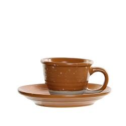 Ceasca Daily cu farfurioara, din ceramica portocalie 5 cm