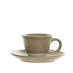 Ceasca Daily cu farfurioara, din ceramica verde 5 cm