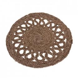 Covoras intrare rotund Rustik din fibre maro 60 cm
