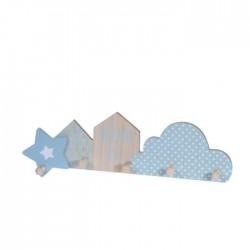 Cuier Dream din lemn natur cu albastru, cu 5 brate - 47x13x5 cm