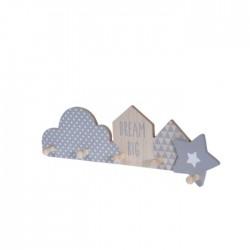 Cuier Dream din lemn natur cu gri, cu 5 brate - 47x13x5 cm