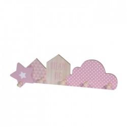 Cuier Dream din lemn natur cu roz, cu 5 brate - 47x13x5 cm