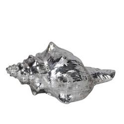 Decoratiune Scoica din polirasina argintie 14x8x6.5 cm