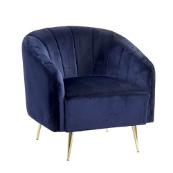 Fotoliu Blue cu picioare aurii si tapiterie catifelata 75x70 cm