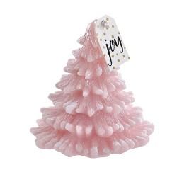 Lumanare in forma de brad roz 13 cm