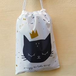 Rucsac Cat din textil alb 26x35 cm
