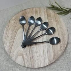 Set 6 lingurite Black din metal 14 cm
