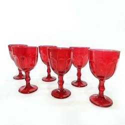 Set 6 pahare Reddish din sticla rosie