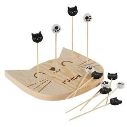 Set pentru aperitive Cats din lemn 15x14 cm