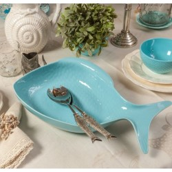 Tava in forma de peste din ceramica turcoaz
