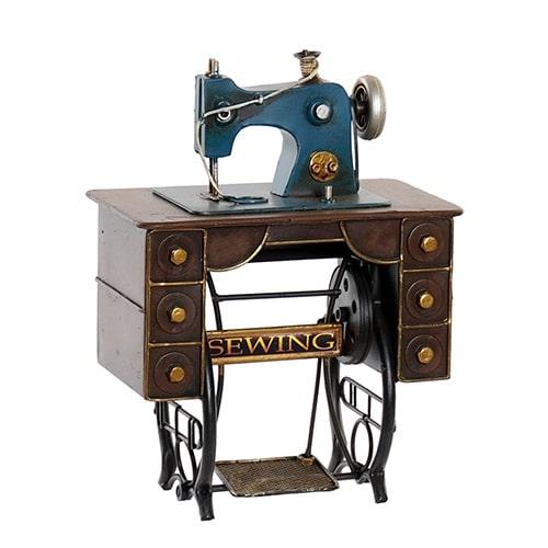 Deco Sewing Machine din metal albastru 21x12 cm chicville 2021