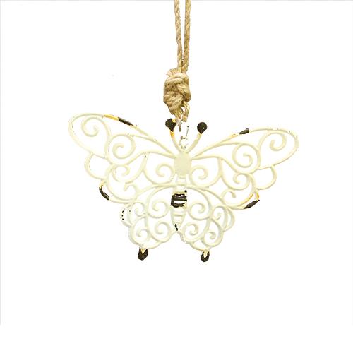Deco Butterfly din metal roz 14x9 cm