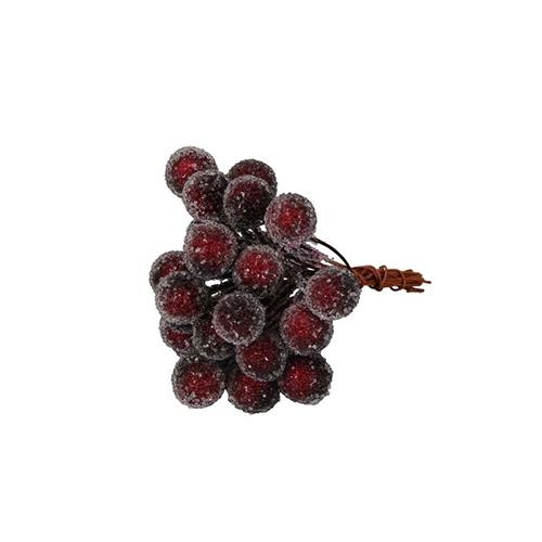 Decoratiune Iced Berries cu bobite visinii 9 cm chicville 2021