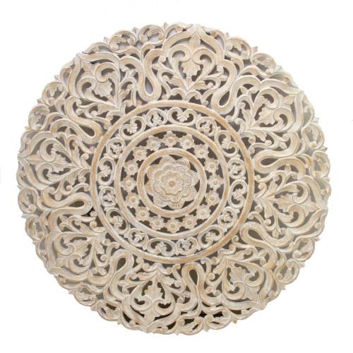 Decoratiune pentru perete Floral din lemn alb 120x3 cm title=Decoratiune pentru perete Floral din lemn alb 120x3 cm