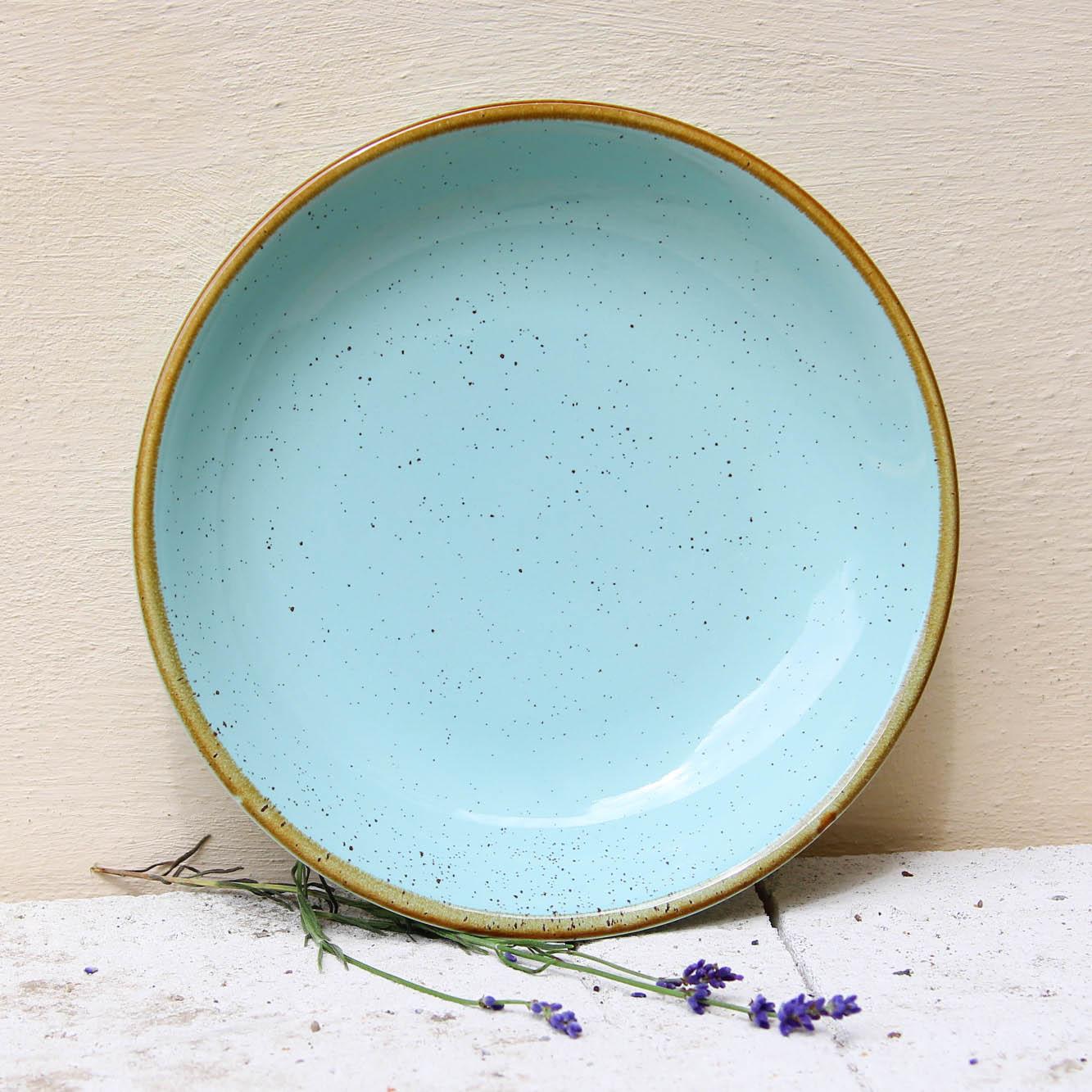 Farfurie adanca Gardena din ceramica turcoaz 23 cm chicville 2021
