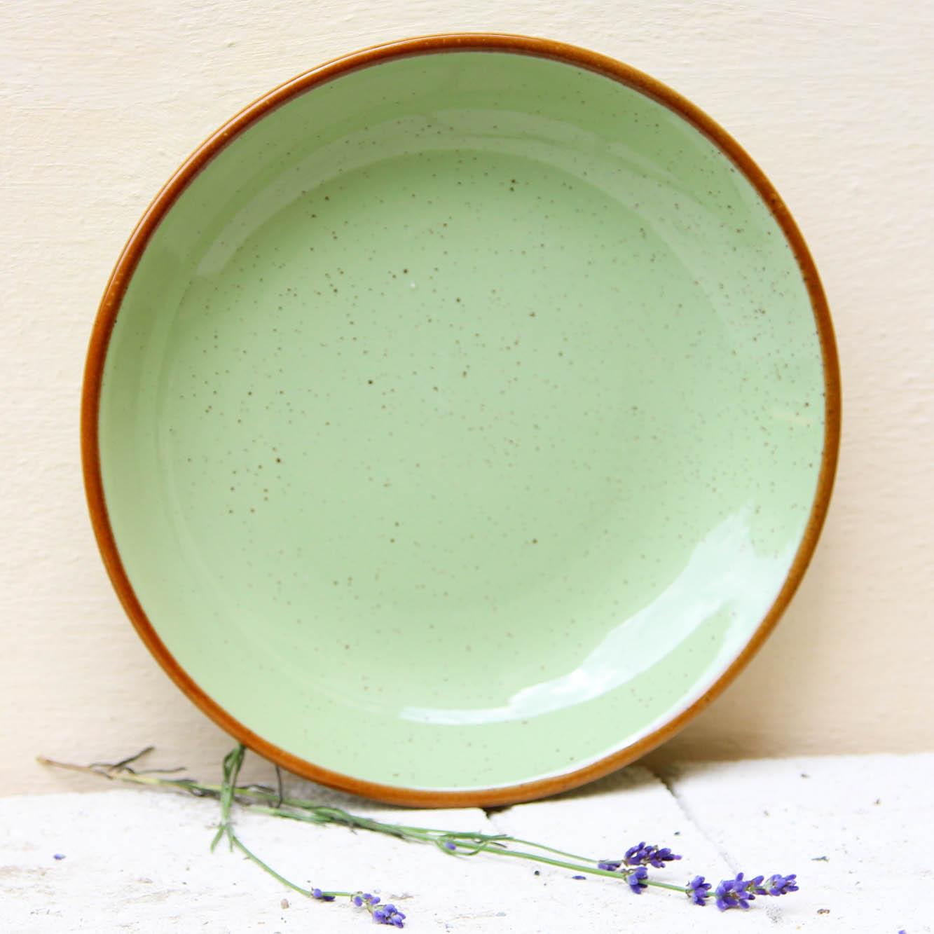 Farfurie adanca Gardena din ceramica verde 23 cm chicville 2021