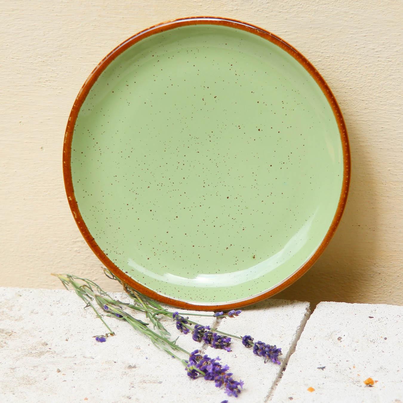 Farfurie de desert Gardena din ceramica verde 20 cm chicville 2021