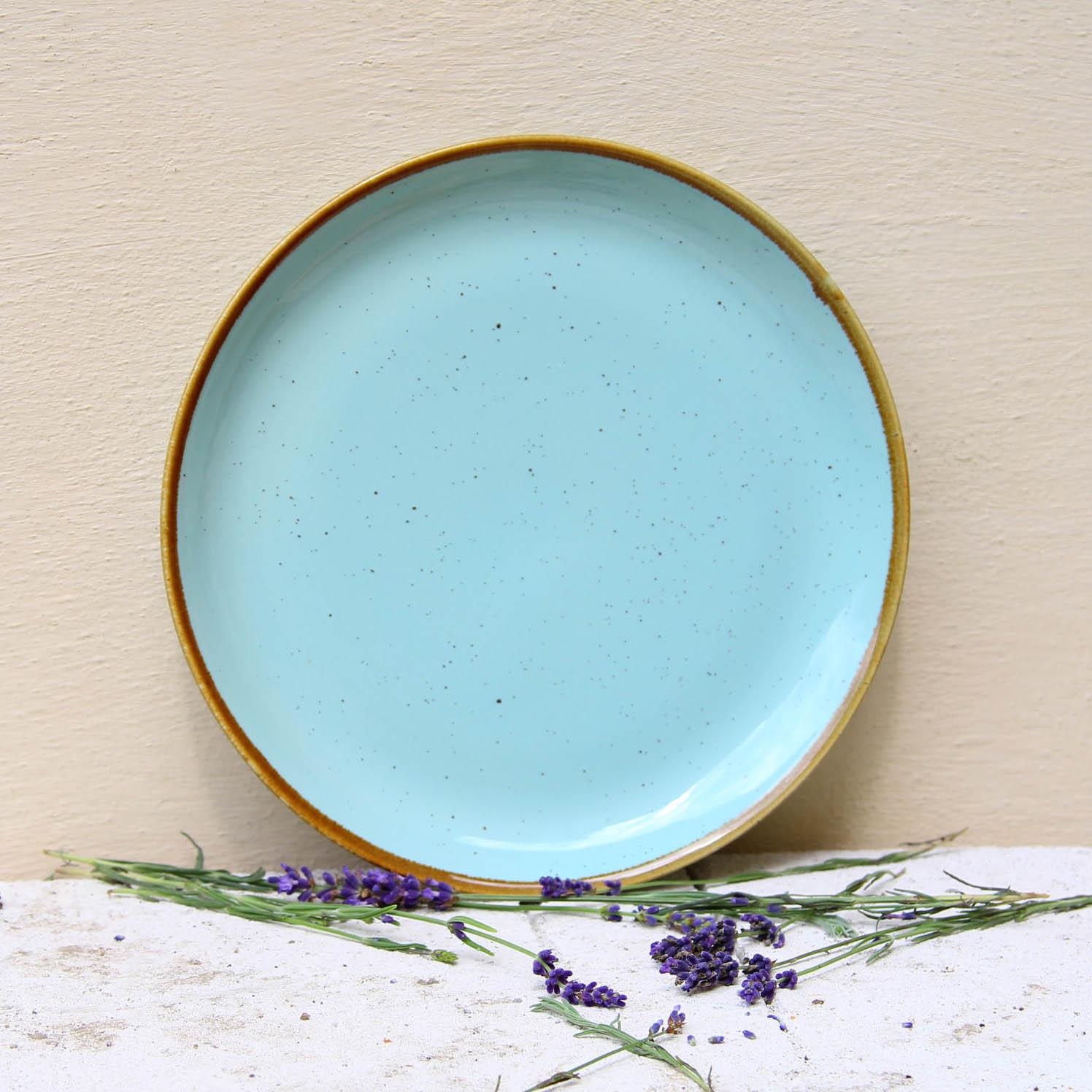 Farfurie intinsa Gardena din ceramica turcoaz 24 cm chicville 2021
