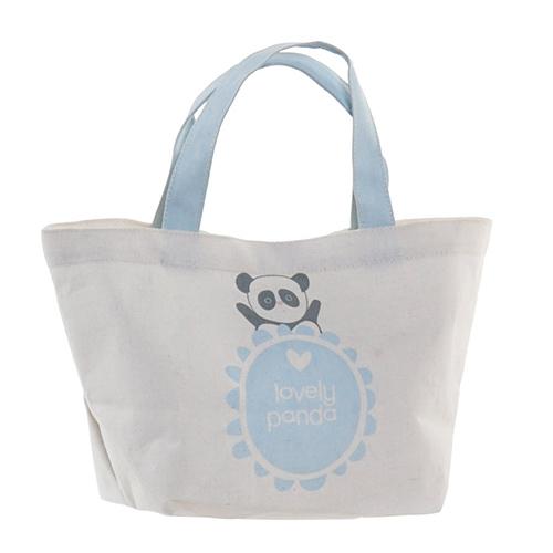 Geanta Panda din textil alb cu albastru 34x14x32 cm chicville 2021