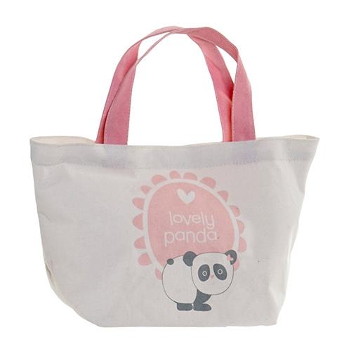 Geanta Panda din textil alb cu roz 34x14x32 cm chicville 2021