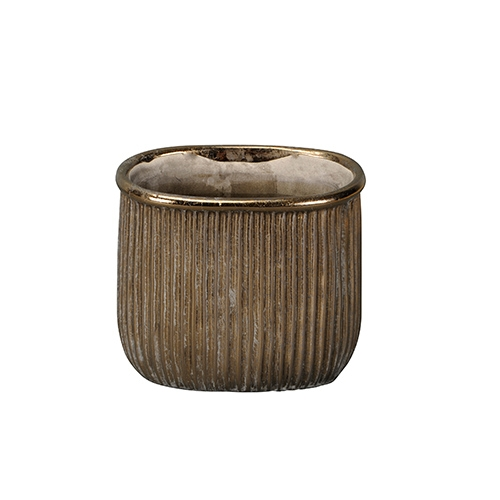 Ghiveci Golden Grooves din ceramica aurie 17 cm chicville 2021