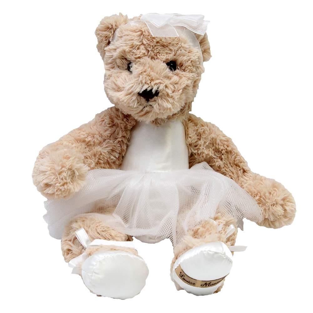 Jucarie ursulet din plus cu rochita de balerina alb 27x32 cm chicville 2021