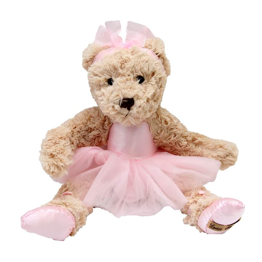 Jucarie ursulet din plus cu rochita de balerina roz 27x32 cm chicville 2021